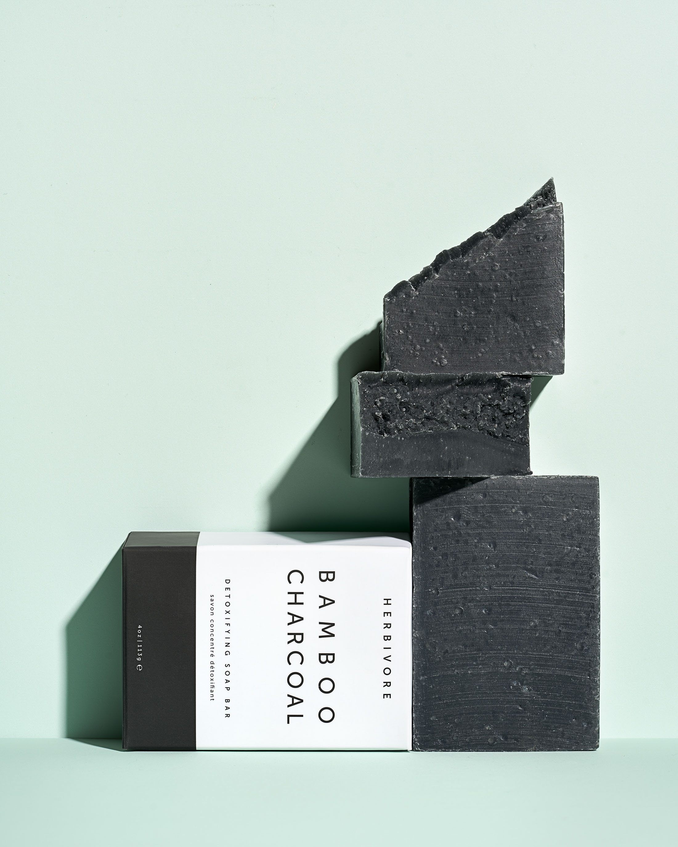 STAN Herbivore Charcoal Soap bar Group Stack